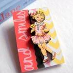 And Smiles Vintage Girl In A Pink Dress 3D Dimensional Pin Badge Brooch - Lg Chipboard Paper And Wood Decoupage Collage - Orange Blue Pink Polka Dots