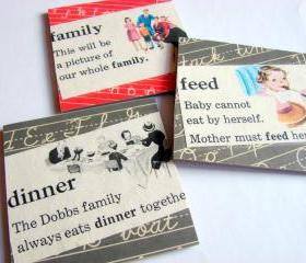 Vintage Dictionary - Feed The Family At Dinner Time - Coaster Set - Small Paper Chipboard Decoupage Collage Drink Bar Tea Beverage Coffee