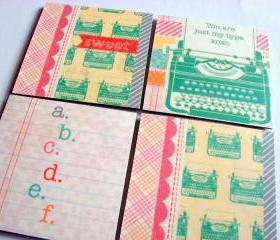 Vintage Typewriters You Are Just My Type - Coaster Set - Small Paper Chipboard Decoupage Collage Drink Bar Tea Beverage Coffee