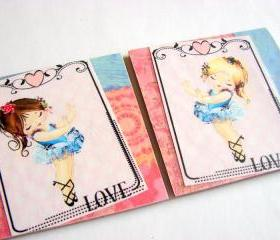 Little Ballerinas In Blue Tutus Dancing - Love - Coaster Set - Small Paper Chipboard Decoupage Collage Drink Bar Tea Beverage Coffee