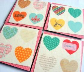  Vintage Hearts Love And Romance - Coaster Set - Small Paper Chipboard Decoupage Collage Drink Bar Tea Beverage Coffee