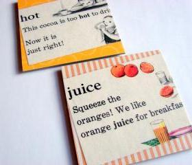 Vintage Dictionary - Hot Cocoa And Orange Juice - Coaster Set - Small Paper Chipboard Decoupage Collage Drink Bar Tea Beverage Coffee
