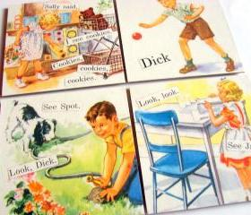  Look Dick See Spot See Jane See Sally - Dick and Jane - Coaster Set - Large Paper Chipboard Decoupage Collage Drink Bar Tea Beverage Coffee