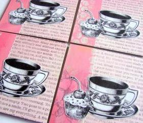 Tea Cups And Cupcakes With A Cherry On Top - Coaster Set - Large Paper Chipboard Decoupage Collage Drink Bar Tea Beverage Coffee