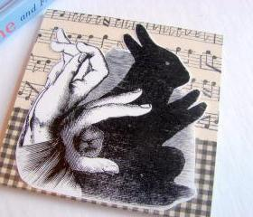 Hand Shadow Puppet No 2 - Bunny Rabbit - Coaster - Large Paper Chipboard Decoupage Collage Drink Bar Tea Beverage Coffee