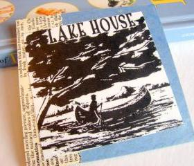 Lake House - Paddling A Canoe - Coaster - Large Paper Chipboard Decoupage Collage Drink Bar Tea Beverage Coffee