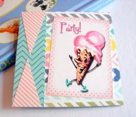 Party - Dancing Ice Cream Cone Man - Coaster - Large Paper Chipboard Decoupage Collage Drink Bar Tea Beverage Coffee