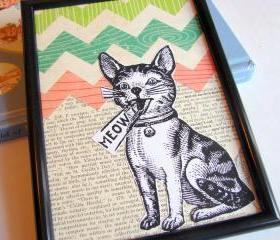 Kitty Cat Says Meow - Wall Art Decor Ready To Frame - Original Collage