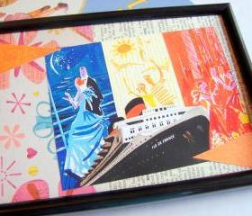 Vintage Vacation - Cruise Ship - Wall Art Decor Ready To Frame - Original Collage