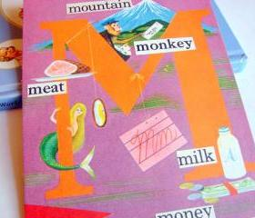 M Is For Mountain Meat Monkey Milk Money - Vintage Book Page - Alphabet ABC - Kids Nursery Childrens Wall Art Decor Ready To Frame - Original Collage