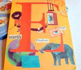 E Is For Earth Elevator Elephant Eye - Vintage Book Page - Alphabet ABC - Kids Nursery Childrens Wall Art Decor Ready To Frame - Original Collage