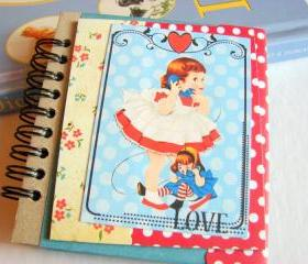 Love - Little Girl Talking On The Telephone - Mini Notebook Collage Decoupage Decorated Notepad Memo Book Note Book