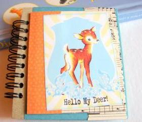 Hello My Deer - Little Spotted Fawn - Mini Notebook Collage Decoupage Decorated Notepad Memo Book Note Book