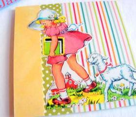 Mary And Her Little Lamb - Followed Her To School - Coaster - Large Paper Chipboard Decoupage Collage Drink Bar Tea Beverage Coffee