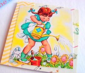 Mary Mary Quite Contrary - Girl Watering The Flowers - Coaster - Large Paper Chipboard Decoupage Collage Drink Bar Tea Beverage Coffee