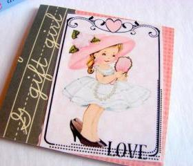 Love - Girl Playing Dress Up Looking In The Mirror - Coaster - Small Paper Chipboard Decoupage Collage Drink Bar Tea Beverage Coffee