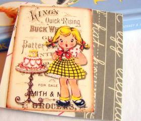 Surprise Party - Girl With A Birthday Cake - Coaster - Small Paper Chipboard Decoupage Collage Drink Bar Tea Beverage Coffee