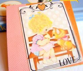 Love - Girl And Her Kitty Cat - Coaster - Small Paper Chipboard Decoupage Collage Drink Bar Tea Beverage Coffee
