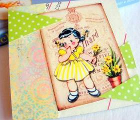 Girl Picking Daffodil Flowers - Coaster - Large Paper Chipboard Decoupage Collage Drink Bar Tea Beverage Coffee