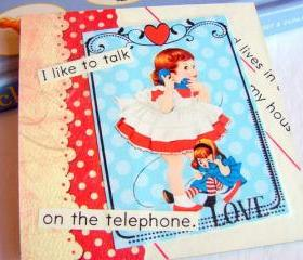 Girl On The Phone - I Like To Talk - Coaster - Large Paper Chipboard Decoupage Collage Drink Bar Tea Beverage Coffee