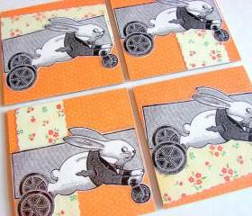 Victorian Bunny Rabbit Pull Toy On Wheels - Coaster Set - Small Paper Chipboard Decoupage Collage Drink Bar Tea Beverage Coffee
