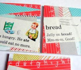 Vintage Dictionary - Ate Drink Bread - Coaster Set - Large Paper Chipboard Decoupage Collage Drink Bar Tea Beverage Coffee