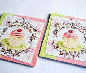 Cherry Cupcake - Coaster Set - Large Paper Chipboard Decoupage Collage Drink Bar Tea Beverage Coffee