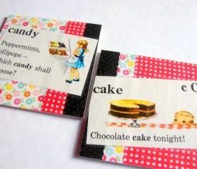 Vintage Dictionary - Cake And Candy - Coaster Set - Large Paper Chipboard Decoupage Collage Drink Bar Tea Beverage Coffee