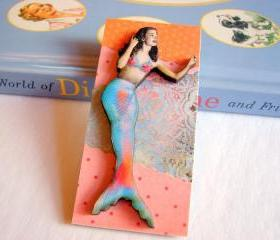 Mermaid In Orange Pink And Blue 3D Dimensional Pin Badge Brooch - Lg Chipboard Paper And Wood Decoupage Collage - Orange Blue Pink Polka Dots