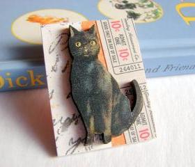 Black Cat Admit One Ten Cents Halloween 3D Dimensional Pin Badge Brooch - Lg Chipboard Paper And Wood Decoupage Collage - Orange Blue Pink Polka Dots