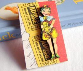 Vintage Girl Holding A Teddy Bear 3D Dimensional Pin Badge Brooch - Lg Chipboard Paper And Wood Decoupage Collage - Orange Blue Pink Polka Dots
