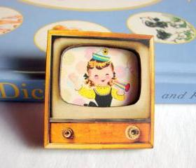 Birthday Party - Girl With A Party Hat And Horn - Television TV 3D Dimensional Pin Badge Brooch - Lg Chipboard Paper And Wood Decoupage Collage - Orange Blue Pink Polka Dots