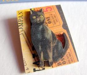 Admit One 5 Cents Black Cat Halloween 3D Dimensional Pin Badge Brooch - Lg Chipboard Paper And Wood Decoupage Collage - Orange Blue Pink Polka Dots