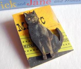 Black Cat Magic Halloween 3D Dimensional Pin Badge Brooch - Lg Chipboard Paper And Wood Decoupage Collage - Orange Blue Pink Polka Dots