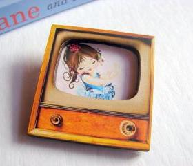 Dancing Girl - Ballerina In A Blue Tutu - Television TV 3D Dimensional Pin Badge Brooch - Lg Chipboard Paper And Wood Decoupage Collage - Orange Blue Pink Polka Dots