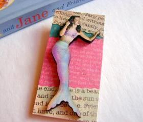 Mermaid In Pink Aqua Lavender 3D Dimensional Pin Badge Brooch - Lg Chipboard Paper And Wood Decoupage Collage - Orange Blue Pink Polka Dots