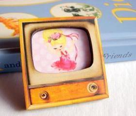 Dancing Girl - Ballerina In A Pink Tutu - Television TV 3D Dimensional Pin Badge Brooch - Lg Chipboard Paper And Wood Decoupage Collage - Orange Blue Pink Polka Dots