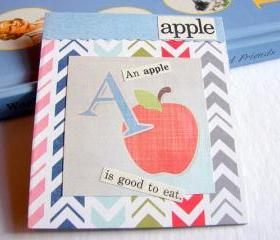 A Is For Apple Collage - Kids Nursery Childrens Wall Art Decor - Alphabet ABC - An Apple Is Good To Eat