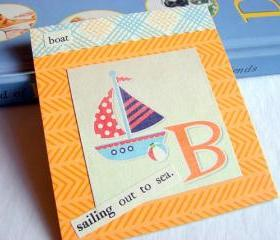 B Is For Boat Collage - Kids Nursery Childrens Wall Art Decor - Alphabet ABC - Sailing Out To Sea