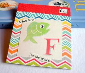 F Is For Fish Collage - Kids Nursery Childrens Wall Art Decor - Alphabet ABC - A Fish Lives In The Water