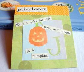 J Is For Jack O Lantern Collage - Kids Nursery Childrens Wall Art Decor - Alphabet ABC - We Cut Holes In A Pumpkin