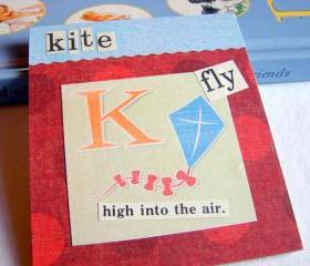 K Is For Kite Collage - Kids Nursery Childrens Wall Art Decor - Alphabet ABC - Fly High Into The Air