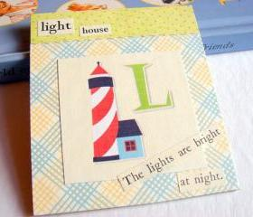 L Is For Lighthouse Collage - Kids Nursery Childrens Wall Art Decor - Alphabet ABC - The Lights Are Bright At Night