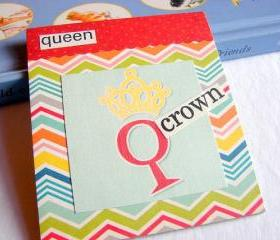 Q Is For Queen Collage - Kids Nursery Childrens Wall Art Decor - Alphabet ABC - Crown