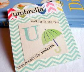 U Is For Umbrella Collage - Kids Nursery Childrens Wall Art Decor - Alphabet ABC - Walking In The Rain